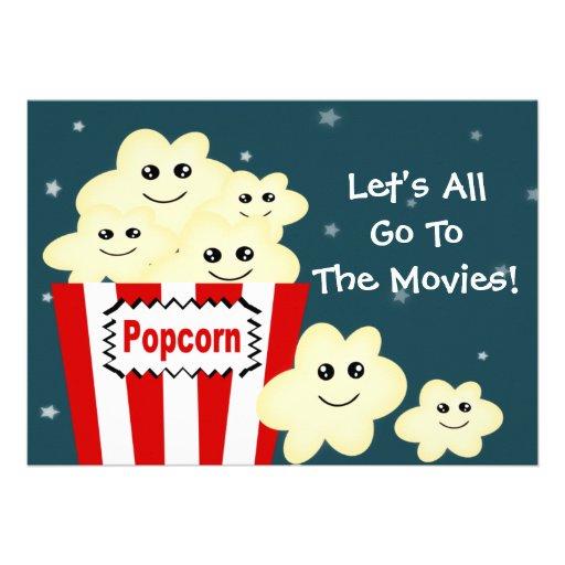 Kawaii Popcorn Movie Theme Party Invitation