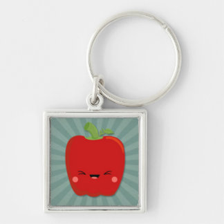 Kawaii Red Pepper on Teal Starburst Silver-Colored Square Key Ring