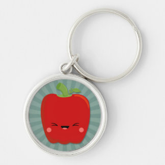 Kawaii Red Pepper on Teal Starburst Silver-Colored Round Key Ring