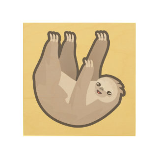 Kawaii Sloth Wood Print