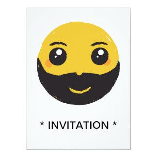 Kawaii Smiley Smiling with Beard & Mustache Card