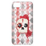 Kawaii Style Cyberpunk Emo Skull on Red Argyle iPhone 5C Case