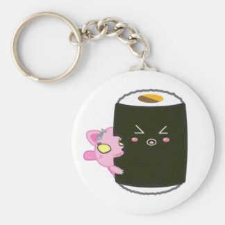 Kawaii Sushi Roll with Nadel the Cat Basic Round Button Key Ring