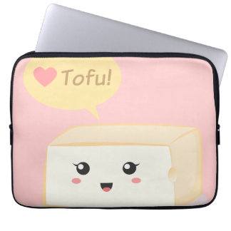 Kawaii tofu asking people to love tofu laptop sleeve