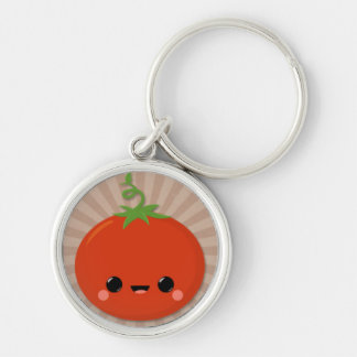 Kawaii Tomato on Brown Starburst Silver-Colored Round Key Ring