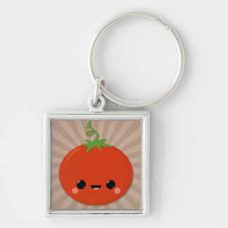 Kawaii Tomato on Brown Starburst Silver-Colored Square Key Ring