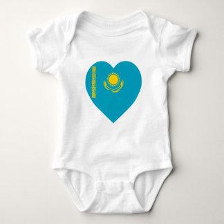 Kazakhstan Flag Heart Baby Bodysuit