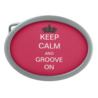 KEEP  CALM An Groove On Custom Belt Buckle (Red)