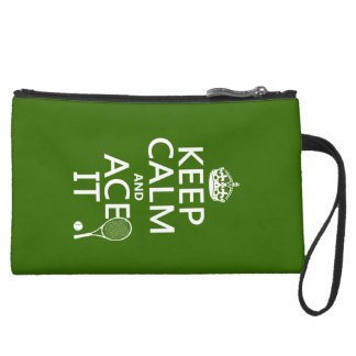 Keep Calm and Ace It (tennis) (in any color) Suede Wristlet