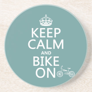 Keep Calm and Bike On (any color) Coaster