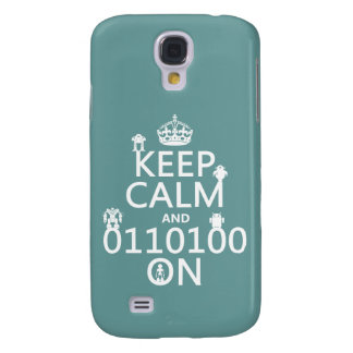 Keep Calm and (Binary) On (robots)(any color) Galaxy S4 Case