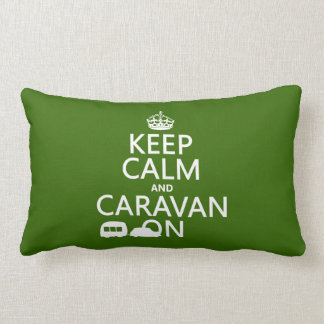Keep Calm and Caravan On (customizable colors) Lumbar Cushion