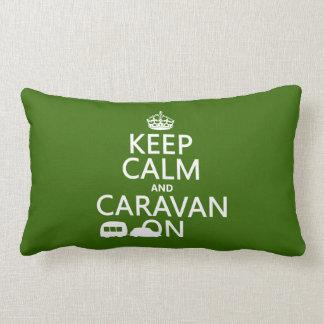 Keep Calm and Caravan On (customizable colors) Lumbar Pillow