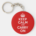 Keep Calm and Carry On Basic Round Button Key Ring