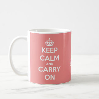 Keep Calm and Carry On Coral Pink Personalised Coffee Mug