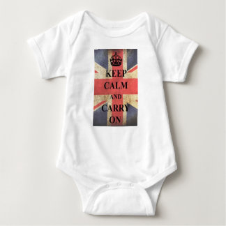 keep calm and carry on england baby bodysuit