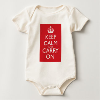 Keep Calm And Carry On: Fire Engine Red Baby Bodysuit