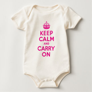 Keep Calm And Carry On Hot Pink Best Price Baby Bodysuit