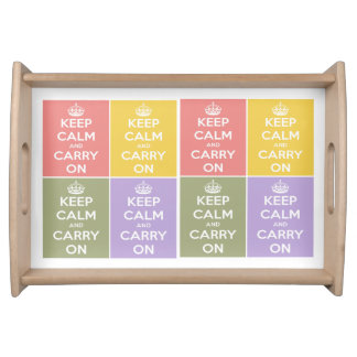 Keep Calm and Carry On Multi-colored Collage Serving Tray