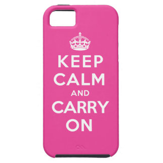 Keep Calm and Carry On - Pink Tough iPhone 5 Case