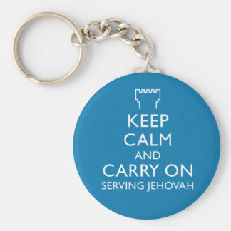 Keep Calm and Carry On Serving Jehovah Blue Basic Round Button Key Ring