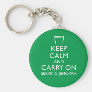 Keep Calm and Carry On Serving Jehovah Green Basic Round Button Key Ring