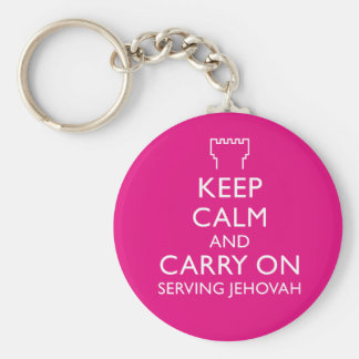 Keep Calm and Carry On Serving Jehovah Pink Basic Round Button Key Ring
