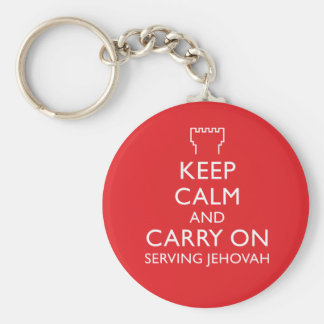 Keep Calm and Carry On Serving Jehovah Red Basic Round Button Key Ring