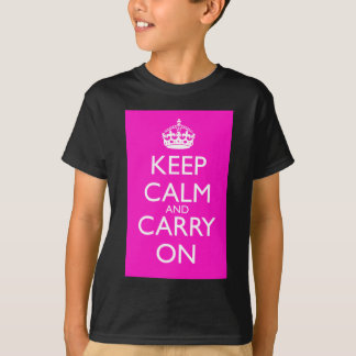 Keep Calm and Carry On Shocking Pink T-Shirt