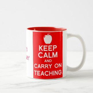 Keep calm and carry on teaching gift mug