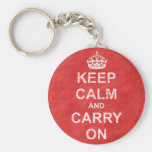 Keep Calm and Carry On Vintage Basic Round Button Key Ring
