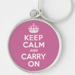 Keep Calm And Carry On. White. Best Price! Key Chain