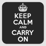 Keep Calm And Carry On. White. Best Price! Square Sticker