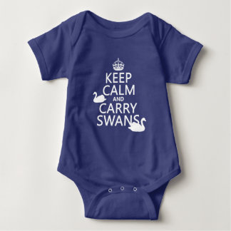 Keep Calm and Carry Swans - all colors Baby Bodysuit