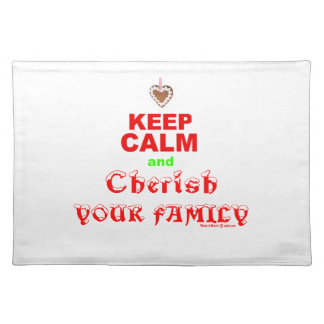 """Keep Calm and Cherish Your Family"" Merry Xmas Placemat"