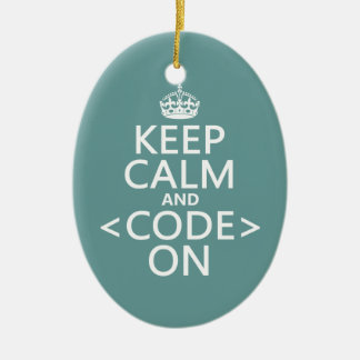 Keep Calm and <Code> On - all colours Christmas Ornament