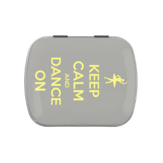 Keep Calm and Dance On Yellow on Grey Candy Tins