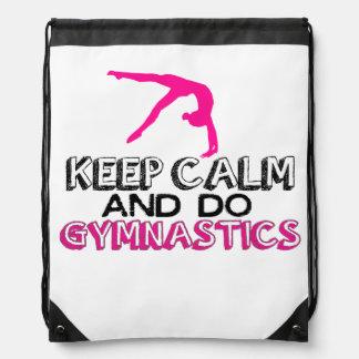 Keep Calm and Do Gymnastics Drawstring Bag