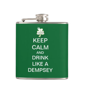 Keep Calm and Drink Like A Dempsey Hip Flask