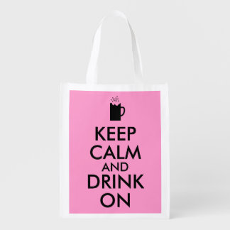 Keep Calm and Drink On Beer Soda Root Beer Lovers Reusable Grocery Bag