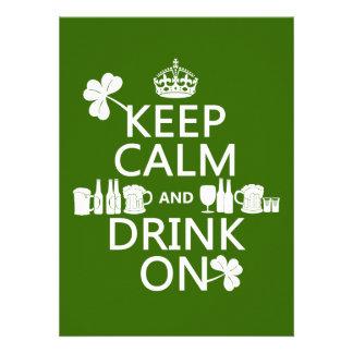 Keep Calm and Drink On irish st patricks Custom Invitations
