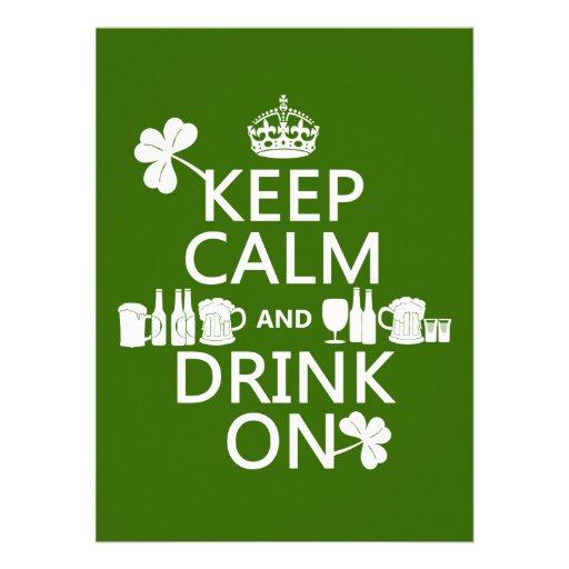 Keep Calm and Drink On (irish st patricks) Custom Invitations
