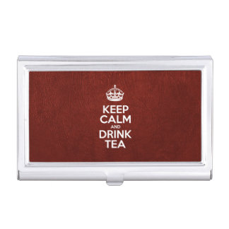 Keep Calm and Drink Tea - Red Leather Business Card Holder