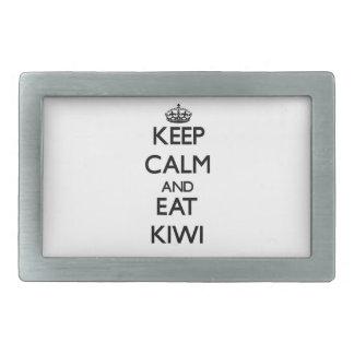 Keep calm and eat Kiwi Rectangular Belt Buckles