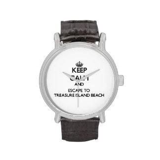 Keep calm and escape to Treasure Island Beach Flor Wristwatches