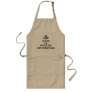 Keep Calm and focus on Arm Wrestling Long Apron