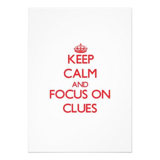 Keep Calm and focus on Clues Custom Invitation