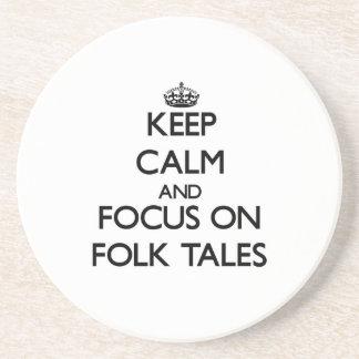 Keep Calm and focus on Folk Tales Beverage Coaster