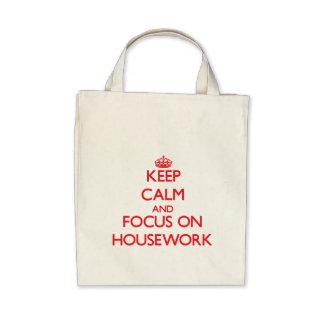 Keep Calm and focus on Housework Canvas Bag