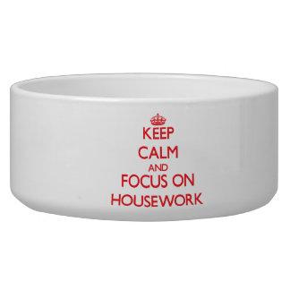 Keep Calm and focus on Housework Pet Food Bowl